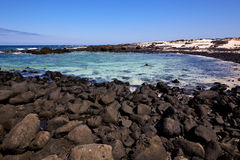 sky light  beach water  in lanzarote    landscape  stone  cloud Royalty Free Stock Photo