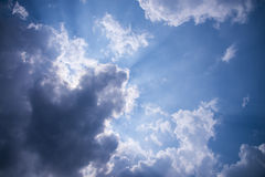 Sky with light beam pass clouds Royalty Free Stock Photos