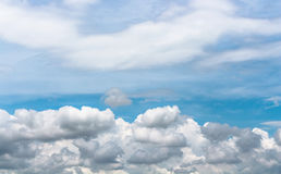 Sky and light. Light blue sky with gray and white cloud Royalty Free Stock Photos