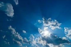 Sky light clouds Blue Sky Sunlight. Sky blue background sun light afternoon beam blast blast cloud Background sky Tropics Royalty Free Stock Photos