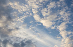Sky lights of heaven. Sunrays between clouds with blues sky Royalty Free Stock Photos