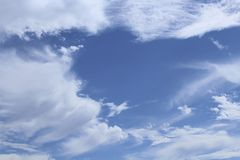 Sky blue with wispy clouds Royalty Free Stock Images