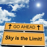 Sky is the limit motivational saying stock photo