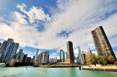 Sky line, Chicago river and city downtown. Chicago river view in city downtown, Chicago, Illinois, United States Royalty Free Stock Image
