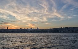 Sunset in Istanbul. Sky line at sunset in modern part of Istanbul from the bosphorus royalty free stock images