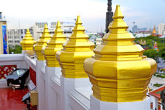 Sky line temple in bangkok thailand incision of the temp Royalty Free Stock Images