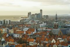Sky line of Vlissingen with the church clock tower and view on the sea, Touristic town in Zeeland, the Netherlands. A Sky line of Vlissingen with the church stock photo