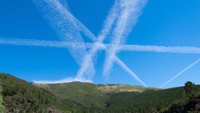 Sky lined. This is how the sky looks when a lot of airplanes cross it royalty free stock photos