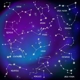 Sky Map Constellations Background vector illustration