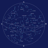 Sky map and constellations with titles Royalty Free Stock Image