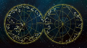 Sky map depicting constellations and zodiac signs. Sky map depicting boreal and austral hemispheres with constellations and zodiac signs Royalty Free Stock Images