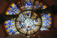 Sky map stained glass. Of the Erawan museum, Samutprakan, Thailand Stock Photo