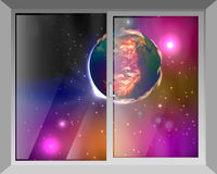 Sky and mars. View through the window Royalty Free Stock Photo
