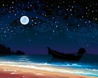 Sky med fullmånen och fartyget Arkivfoton