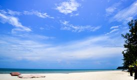 Summer blue sky sea coast sand background beach Stock Photography