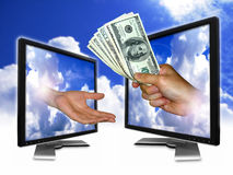 Sky money payment. This is the fast the way for a transaction Stock Photos