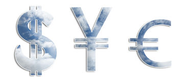 Sky Money Symbols. Sky textured dollar, yen and euro symbols Stock Photo