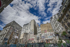 The sky in Montmartre, Paris. A view of the old buildings in Montmartre district in Paris Royalty Free Stock Image