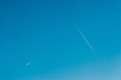Sky. Moon. Airplane Stock Photography