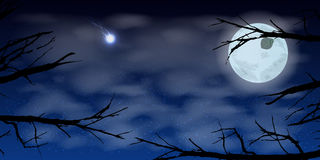 Sky moon night clouds trees. Illustration Royalty Free Stock Photo