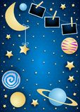 Sky with moon, planets and photo frames. Vector illustration eps10 royalty free illustration