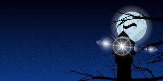 Sky moon trees night lighthouse light signal. Illustration. Use wallpaper for, the website, smart phone, tablet PC, printing, etc Stock Photos
