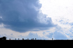 Sky and Mountain. People walking on the mountain Royalty Free Stock Photography