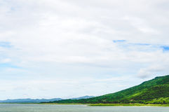 Sky And Mountain View Of The Dam. Cloudy Sky And Mountain View Of The Dam In North-East Of Thailand Stock Photo