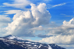 Sky and mountains background. Norway Royalty Free Stock Photography