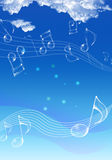 Sky music. Glass notes and blue sky Royalty Free Stock Images