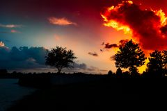 Sky, Nature, Sunset, Horizon stock photo