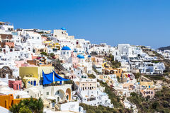 Sky near traditional white village in Santorini Stock Photography