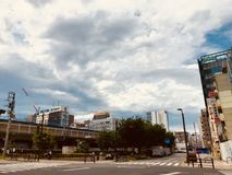 The sky is in a neighborhood in Japan. royalty free stock photos