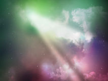 Sky night abstract with green ray light Stock Image