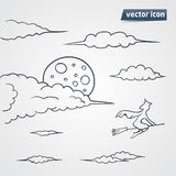 Sky in night with clouds vector illustration. Hand drawn Royalty Free Stock Photo