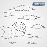Sky in night with clouds vector illustration. Hand drawn vector illustration