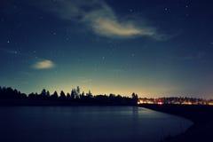 Sky night lake Stock Images