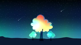 Sky at night and meteor with trees vector illustration
