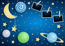 Sky by night with moon, planets and photo frames. Vector illustration eps10 vector illustration
