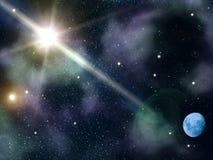 Sky night stars moon stock illustration