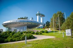 A sky observatory and ethnocosmology museum stock photos