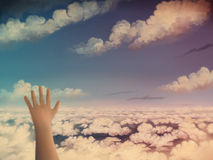 Sky Observer. Digital painting of a first-person view above the clouds, seen while dreaming Royalty Free Stock Photo