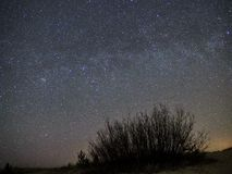 Night sky and milky way stars, Perseus constellation over sea royalty free stock image