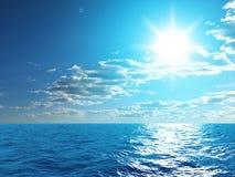 Sky and ocean. Sun; blue sky and ocean Stock Photography