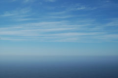 Sky and ocean. Blue sky over Pacific ocean Stock Image