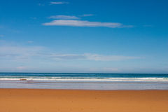 Sky, ocean and sand. La Griega beach pic in Colunga, small town of the province of Asturias Spain Stock Photography