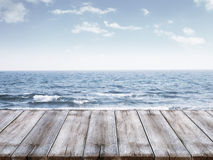Sky and ocean with wooden berth Stock Photo