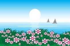 Sky och hav Stock Illustrationer