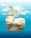 Sky och hav med segelbåten Royaltyfria Foton
