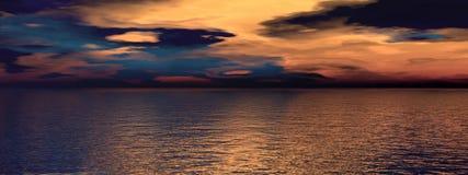 Sky orange and black and sea Stock Photo